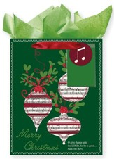 Merry Christmas Ornaments, Gift Bag with Tissue, Psalm 136:1, Medium