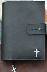 Leather Adjustable Bible Cover, Black, Extra Large