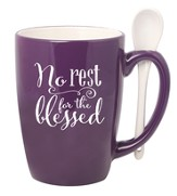 No Rest For the Blessed Mug with Spoon