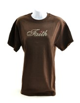 Rhinestone Faith Shirt, Brown, Medium