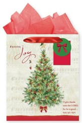 Christmas Tree, Gift Bag with Tissue, Psalm 136:1, Large