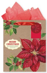 Merry Christmas Poinsettia, Gift Bag with Tissue, Psalm 118:24, Large