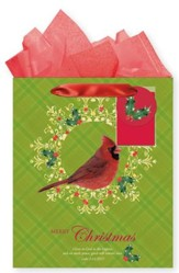 Cardinal & Wreath, Gift Bag with Tissue, Luke 2:14, Large