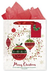 Merry Christmas Ornaments, Gift Bag with Tissue, Psalm 96:4, Large