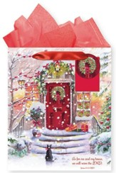 Snowy House, Gift Bag with Tissue, Joshua 24:15, Large