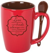 Love Always Protects Mug with Spoon