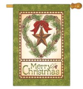 Merry Christmas Barn Star Flag, Large