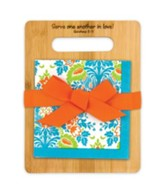 Serve One Another, Orange and Blue Cutting Board and Napkin Gift Set