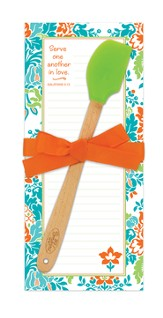 Serve One Another, Orange and Green Notepad and Mini Spatula Set