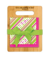 Serve One Another, Pink and Green Cutting Board and Napkin Gift Set