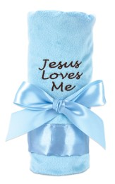 Jesus Loves Me Plush Blanket, Blue