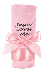 Jesus Loves Me Plush Blanket, Pink