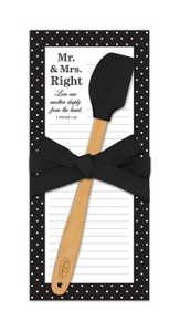 Mr. and Mrs. Right, Love One Another Deeply, Magnetic List Pad and Spatula Set