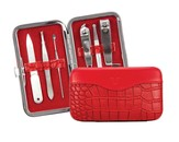 Manicure Set, Faux Leather Croc Case, Red