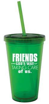 Friends are God's Way Reusable Cup with Straw