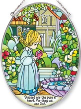 Blessed Are The Pure in Heart Oval Suncatcher, Precious Moments