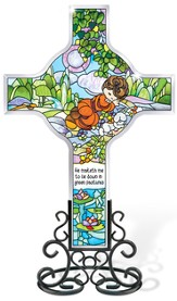 He Maketh Me Lie Down Cross Suncatcher, Precious Moments