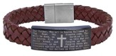 Men's Faith Bracelet, Brown Leather