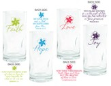 Faith, Hope, Love, Joy Drinking Glasses, Set of 4