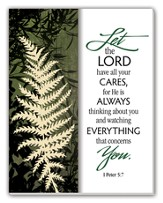 Let the Lord Have Your Cares Glass Plaque