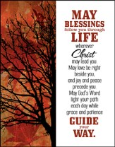 May Blessings Follow You Glass Plaque