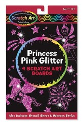 Scratch Art, Princess Pink Glitter Scratch Art Boards