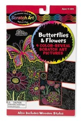 Scratch Art, Color Reveal Pictures, Butterflies and Flowers