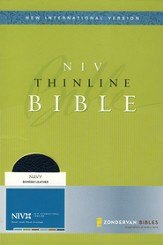 NIV Thinline Bible--bonded leather, navy blue (1984) (slightly imperfect)