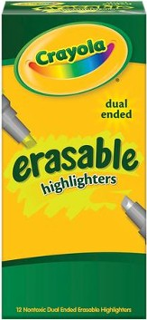 Crayola, Dual-End Erasable Highlighters, 12 Pieces