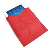 Leather IPad Cover with Flared Cross, Red