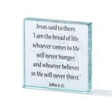 I Am the Bread of Life, John 6:35 Glass Block