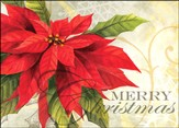Merry Christmas Poinsettia Deluxe Box Christmas Cards, Box of 20