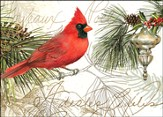 Cardinal and Silver Christmas Ornament Deluxe Box Christmas Cards, Box of 20