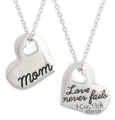 Mom Necklace, with Cut out Heart