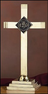 Brass Altar Cross with IHS Emblem
