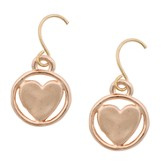 Circle Heart Dangle Earrings, Rose Gold Plated