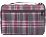 Plaid Bible Cover, Pink and Gray, Extra Large