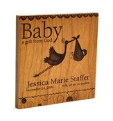 Personalized, Baby A Gift From God Square Plaque, Brown