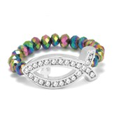 Ichthus Stretch Ring, Rainbow