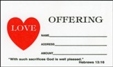 Love Offering Envelopes, Hebrews 13:16, 4.25 inch x 2.125  inch, Small, Package of 100