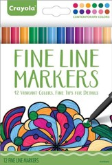 Fine Line Markers, Contemporary Colors, Pack of 12