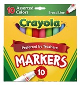 Crayola, Broad Line Markers, Assorted, 10 Pieces