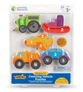 Magnetic Counting Vehicle Puzzles, 15 Pieces
