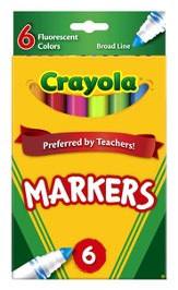 Crayola, Broad Line Markers, Fluorescent, 6 Pieces