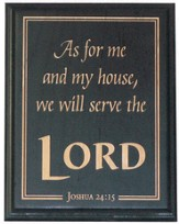 As For Me and My House Plaque, Black