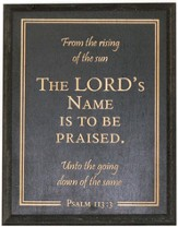 Blessed Be the Name of the Lord Plaque, Black