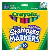 Crayola, Mini-Stampers Expressions Washable Markers, 10 Pieces