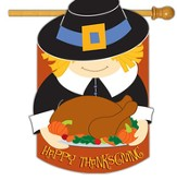 Happy Thanksgiving Pilgrim Applique Flag, Large