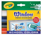 Crayola, Washable Window Mega Markers, School Colors, 4 Pieces