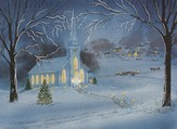 Church Scene Christmas Cards, Box of 18